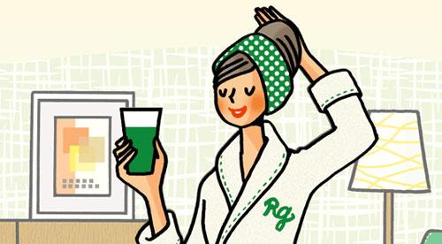 リッチグリーンを正しく飲んで効果を実感している女性