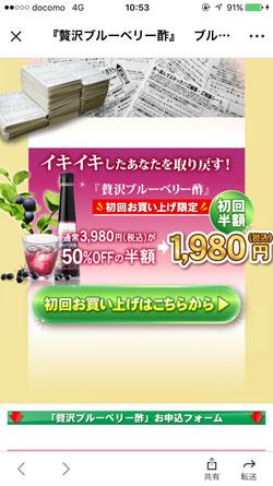 贅沢ブルーベリー酢の販売価格1
