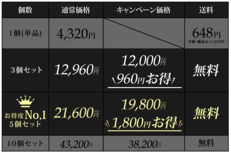 美・マジックホワイリッチの価格表