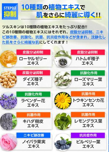 ツルスキンに含まれる10種類の植物エキス