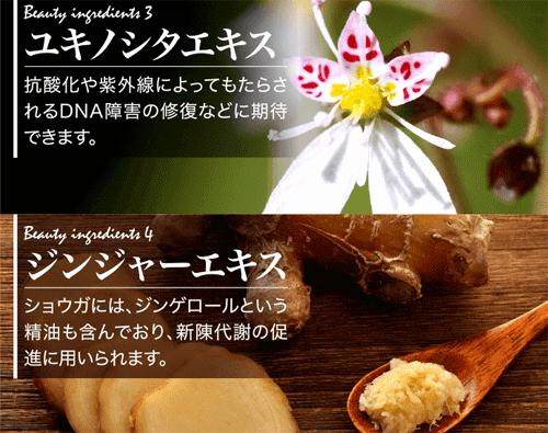 HADARI(はだり)に含まれるユキノシタエキスとジンジャーエキス